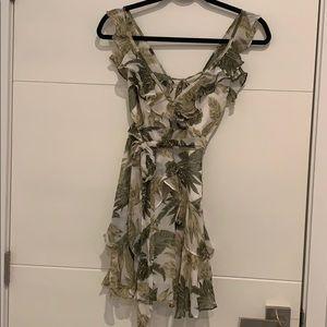 Palm print ruffle dress